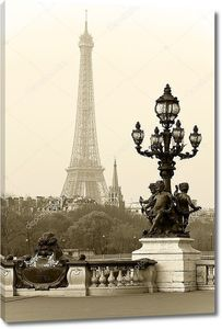 Улица фонарь на мосту Александра iii в Париже, Франция.