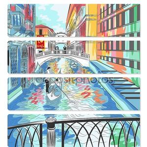 Векторный пейзаж мост Вздохов в Венеции