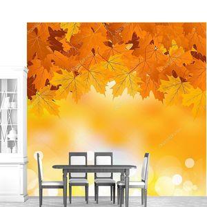 Вектор осенние листья на фоне яркий солнечный