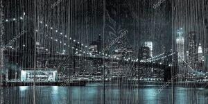 Манхэттен ночью из Бруклинский мост Парк