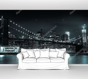 Манхэттен ночью Бруклинский мост