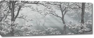 Цветущие деревья в тумане