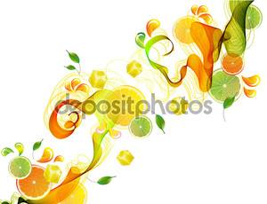 Абстрактные волны апельсина и лайма
