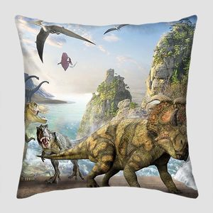 Разные динозавры у водопада