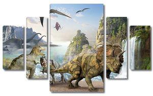 Разные динозавтра у водопада