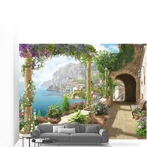Терраса со скамейкой и видом на море