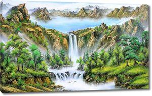 Иллюстрация озера в горах