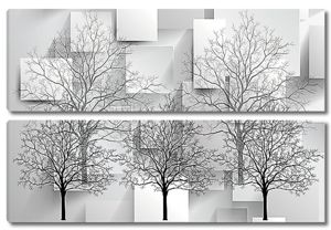 Деревья на фоне кубов