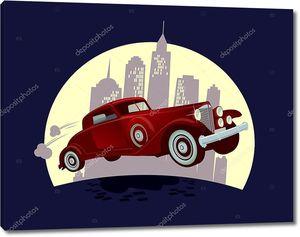 Ретро автомобиль против ночной город мультфильм дизайн.