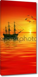 Корабль на красном закате