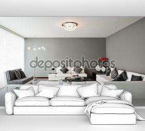 Дизайн интерьера: гостиная с большой пустой стены