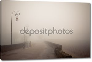 Туманный дорога с старые лампы