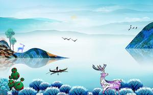 Цветастый олень на озере