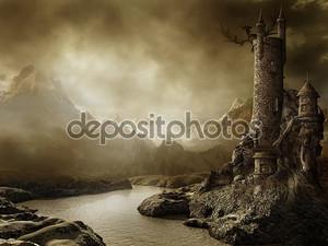 Фантазийный пейзаж с башней