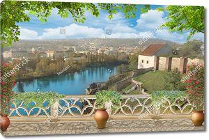 Вид с террасы на старый город летом