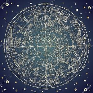 Винтаж зодиакальным созвездием северных звезд