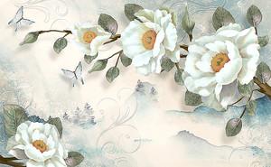 Нарисованные белые цветы с желтыми серединками