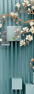 Ветка цветущая и клетка с кубами