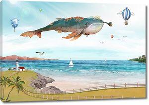 Сказочный кит летит по небу