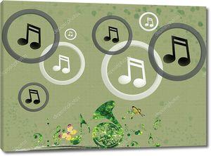 Зеленый фон, белый и темный серый Мелодия иконы внутри кольца, яркие зеленые ноты и труба