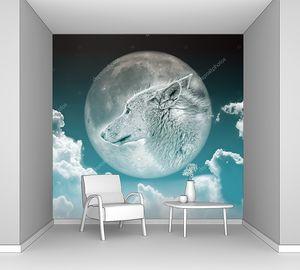 Изображение милого волка на луне