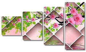 Ветки деревьев с розовыми розами, отражение в воде