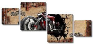 Мотоцикл вылетает из стены
