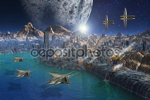 Чужой планете и город