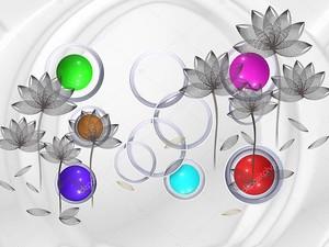 Разноцветные круги с  серыми цветами