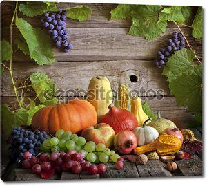 Фрукты и овощи с тыквы в осенний натюрморт