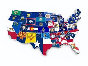 США государственные флаги на 3d карта