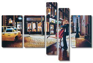 Городской пейзаж с парочкой влюбленных
