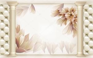 Светлый фон с колоннами и цветы