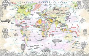 Карта мира с дирижаблями и воздушными шарами