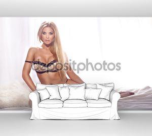 Полноразмерные фото красивая блондинка сексуальная девушка носить нижн