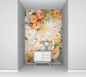 Цветочный фон с абрикосовыми розами