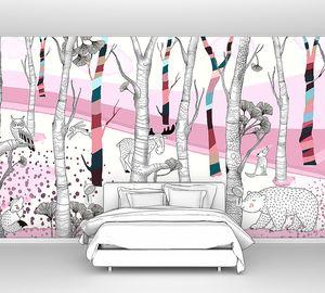 Woodland-животные в розовом в лесу
