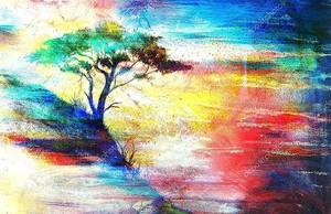 Закат, море и дерево, цветной коллаж