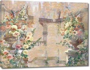 Вид на двор с прекрасными цветами