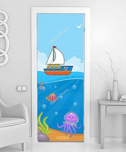 Парусник рисованный на море
