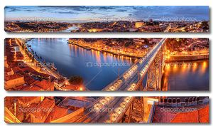 Porto, river Duoro and bridge at night