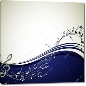 Музыкальный бело-синий фон