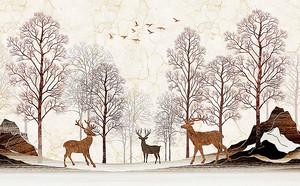 Фигуры оленей у леса
