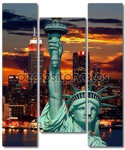 Статуя свободы и город Нью-Йорк