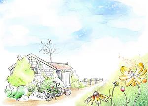 Домик с велосипедом в деревне