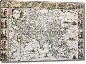 Старая карта Азии