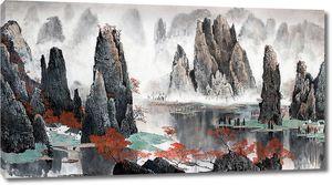 Остроконечные горы и озеро