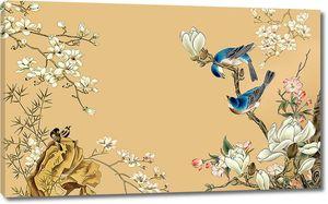 Певчие птицы в цветах