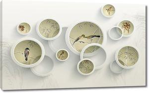 Птицы в объемных окружностях