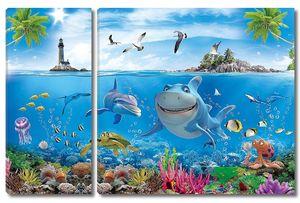 Веселые акула и дельфин